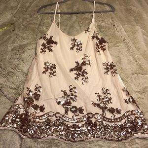 NWT, sequin top with spaghetti straps